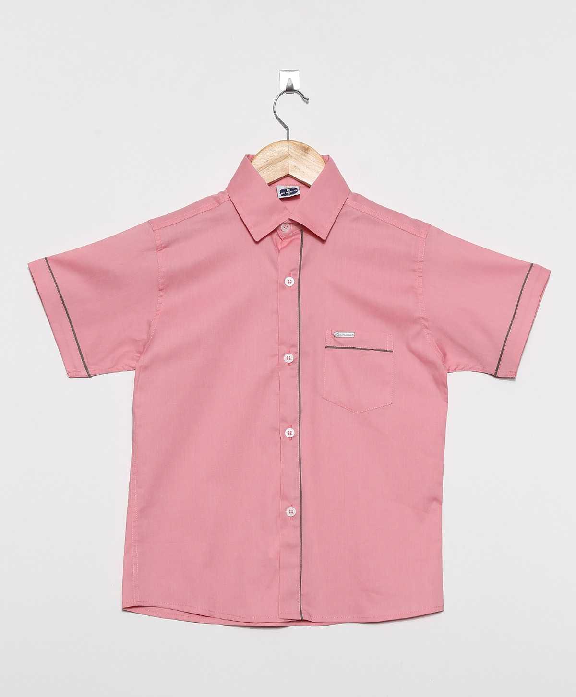 Camisa Social infantil Masculina manga curta com viés 100% Algodão