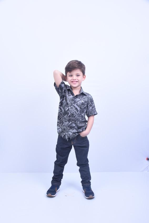 Camisa Social infantil Masculina manga curta ViscoJeans