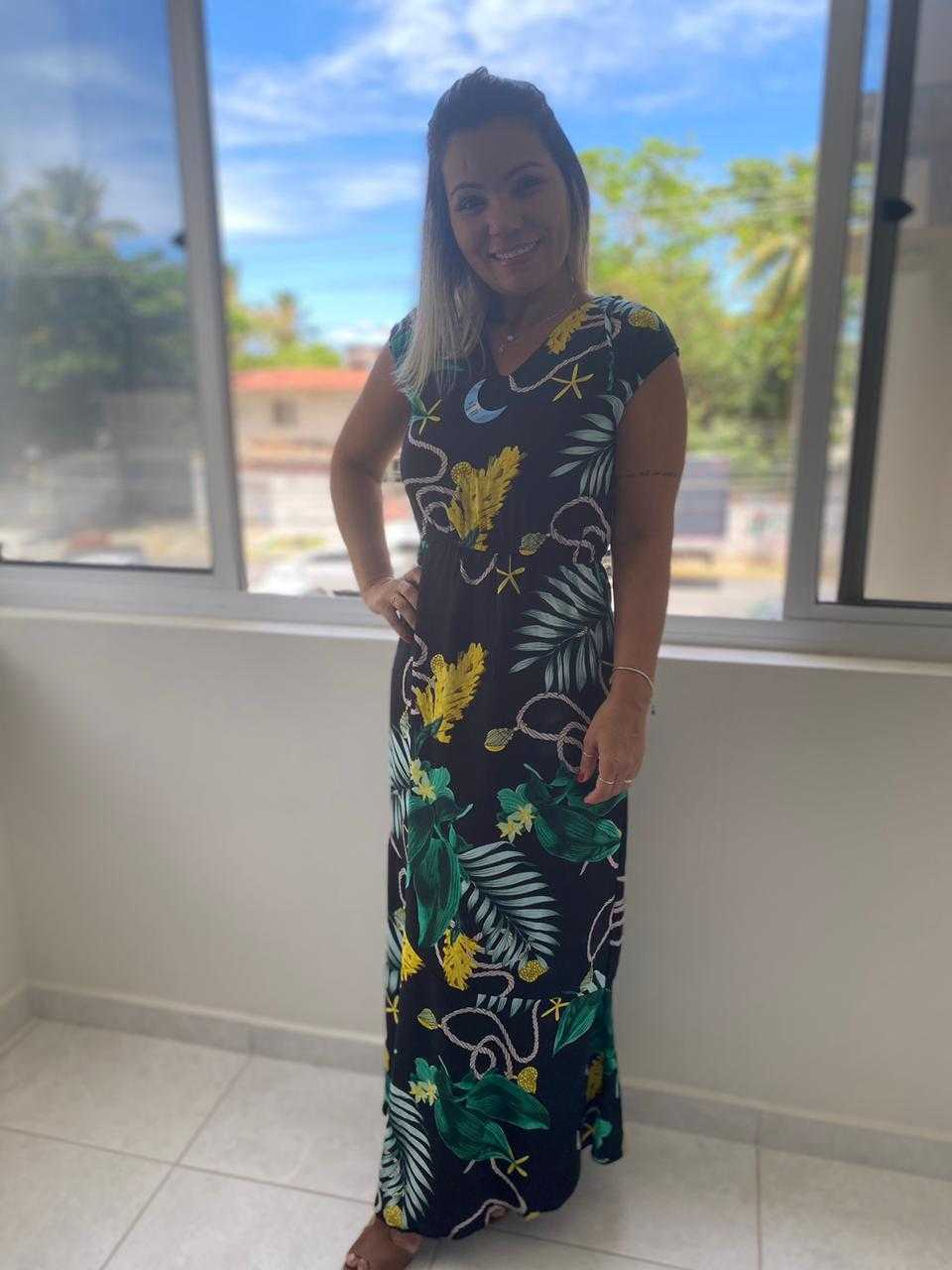 Vestido longo viscose