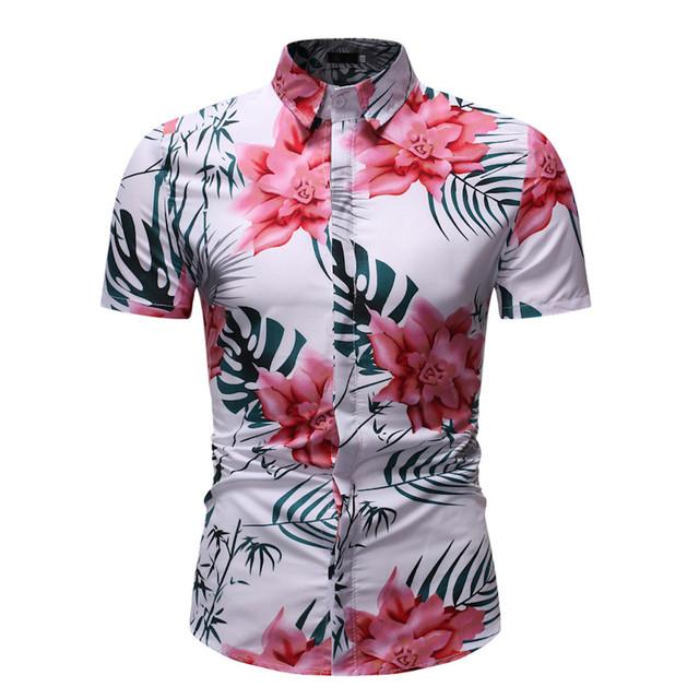 Camisa Floral havaiana Manga curta