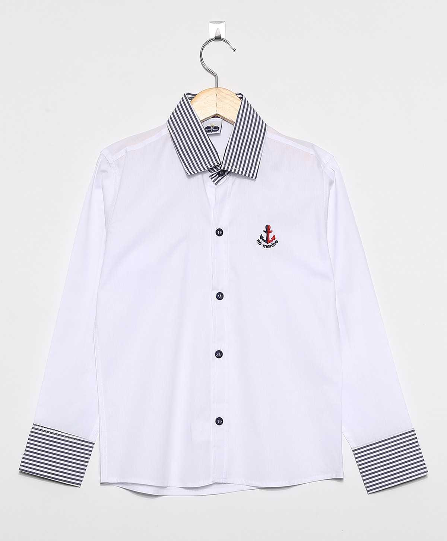 Camisa Social Infantil Masculina Manga Longa 100% Algodão detalhe listrado