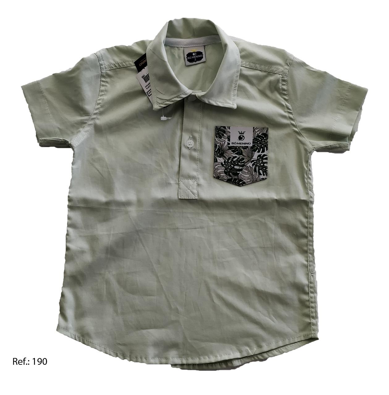 Camisa Bata Lisa  infantil Masculina manga curta Bolso Estampado