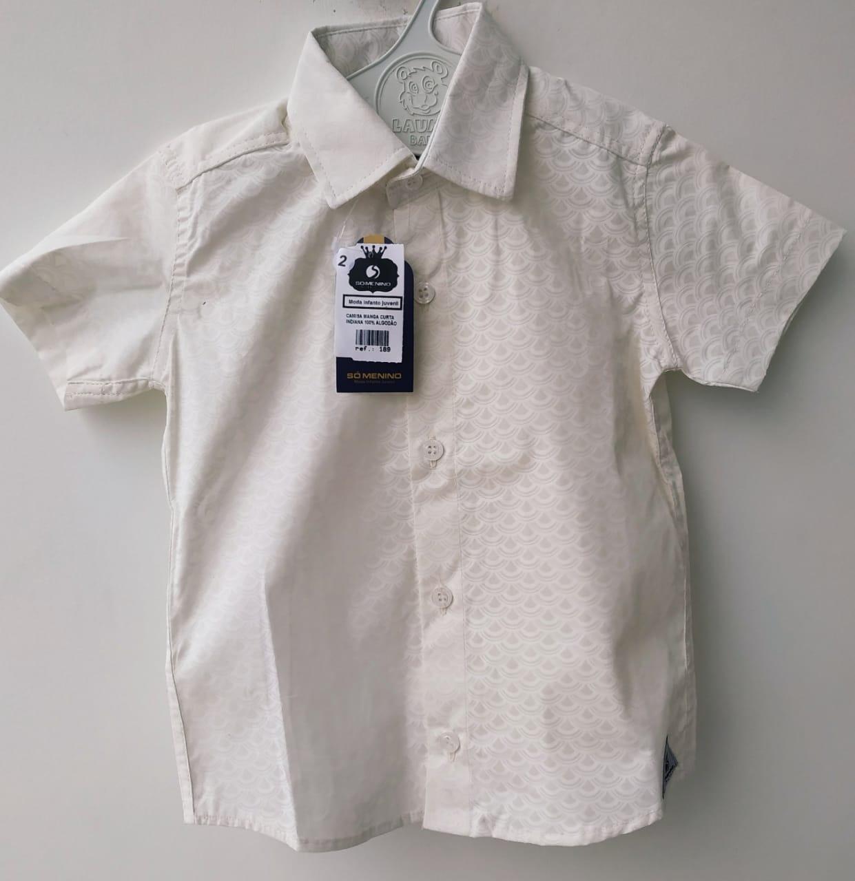 Camisa Social infantil Masculina manga curta Indiana 100% Algodão