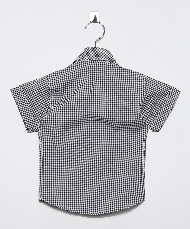 Camisa Social infantil Masculina manga curta Xadrez Miúdo c/bolso