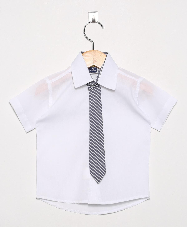 Camisa Social infantil Masculina manga curta com Gravata