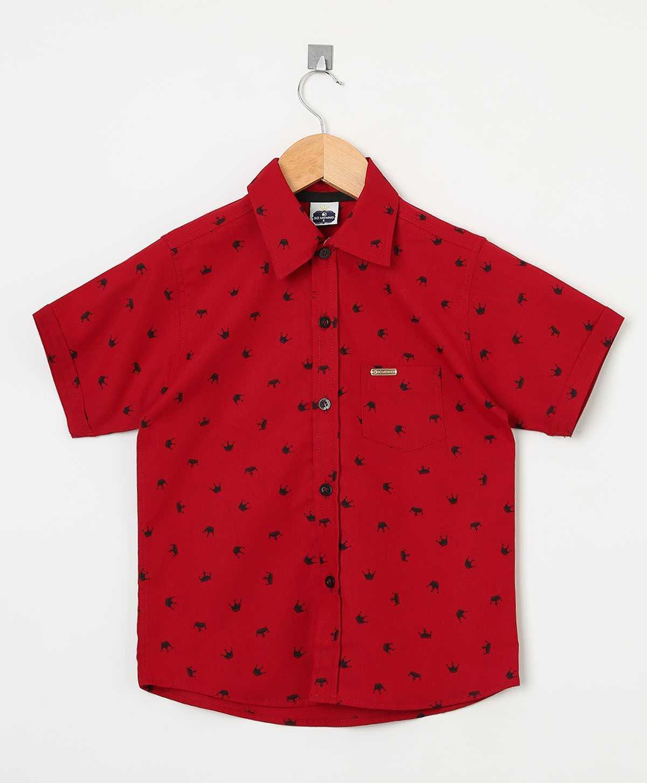 Camisa Social infantil Masculina manga curta estampada