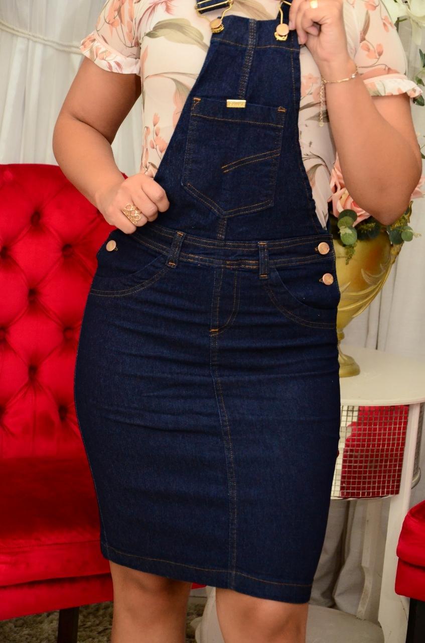 Jardineiras jeans com lycra
