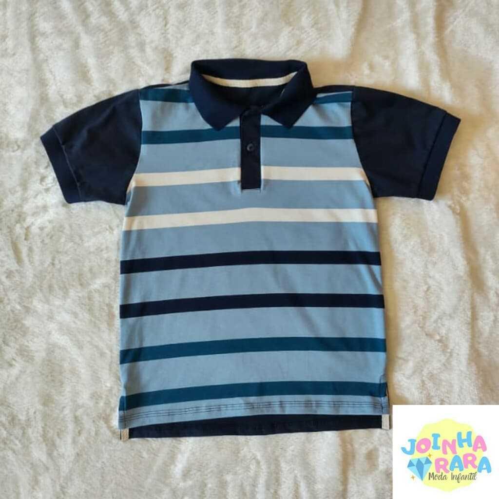 Camisa Gola Polo Listrada Azul Malhas Menegotti